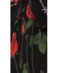 Rockins | Red Classic Skinny Fringed Roses Silk Scarf | Lyst