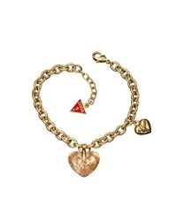 Guess | Metallic Gold Plated Crystal Heart Bracelet | Lyst