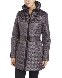 Laundry by Shelli Segal | Gray Circular Quilted Coat | Lyst
