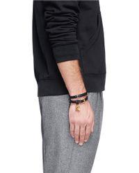 Alexander McQueen | Black Double Wrap Skull Leather Bracelet for Men | Lyst