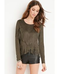Forever 21 - Natural Faux Suede Fringe Top - Lyst
