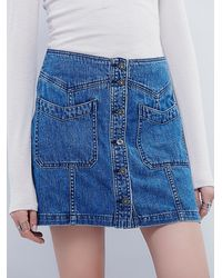 Free People - Blue I See You Denim Skirt - Lyst