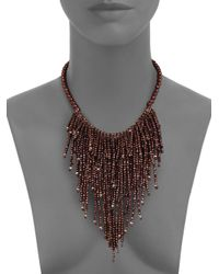 Brunello Cucinelli - Brown Beaded Fringe Necklace - Lyst