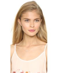 EF Collection - Metallic Offset Diamond Flying V Necklace - Lyst