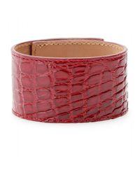 Fendi | Red Crocodile Leather Cuff with Studded Logo Closure | Lyst