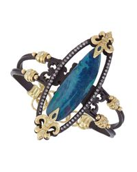 Armenta - Blue Double-Banded Open-Oval Bracelet With Diamonds - Lyst