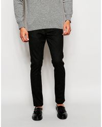 ASOS | Black Skinny Trousers In Wool Look Grey for Men | Lyst