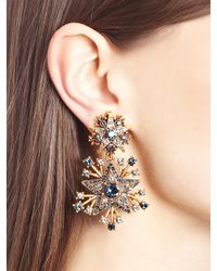 Oscar de la Renta - Black Crystal Stars Clip-on Drop Earrings - Lyst