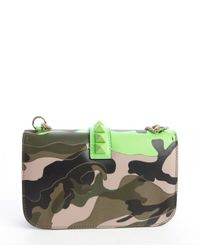 Valentino - Neon Green And Military Green Leather Camouflage Print Studded Detail Shoulder Bag - Lyst