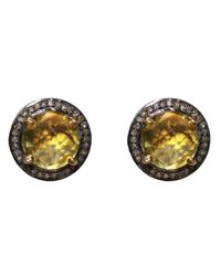 Adornia - Yellow Lemon Quartz And Champagne Diamond Willow Ii Stud Earrings - Lyst