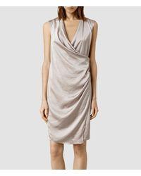 AllSaints - Gray Arina Dress - Lyst