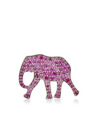 Marc Alary | 18K White Gold Elephant Pendant With Pink Sapphire Pave | Lyst