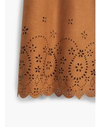 Mango - Brown Openwork Detail Dress - Lyst