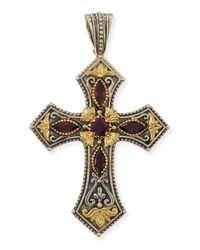 Konstantino - Brown Silver & 18k Rhodolite Cross Pendant - Lyst