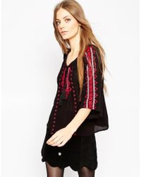 ASOS - Multicolor Wide Sleeve Embroidered Folk Blouse - Lyst