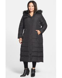DKNY - Black Down & Feather Fill Maxi Coat With Faux Fur Trim - Lyst