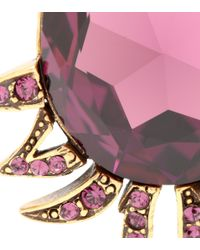 Oscar de la Renta - Purple Crystal-embellished Clip-on Earrings - Lyst