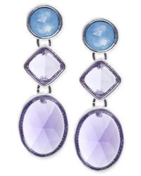 Jones New York | Silver-tone Blue Stone Triple Drop Earrings | Lyst