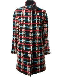Chloé - Multicolor Textured Checkered Coat - Lyst