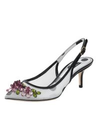 Dolce & Gabbana - White Slingback With Jewels - Lyst