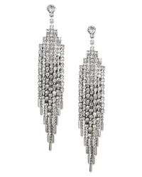 Charter Club - Metallic Silver-tone Glass Stone Multi-chain Drop Earrings - Lyst