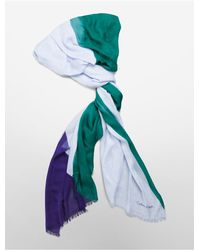 Calvin Klein | Green White Label Multi Color Fringed Scarf | Lyst
