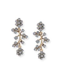 Oscar de la Renta - Black Crystal Branch Drop Clip Earrings - Lyst