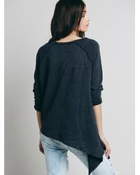 Free People - Blue Womens Raw Edge Shark Bite Pullover - Lyst