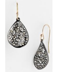 Alexis Bittar - Metallic 'miss Havisham' Crystal Encrusted Teardrop Earrings - Gunmetal - Lyst