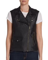 Georgie - Black Perforated Faux Leather Moto Vest - Lyst