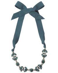 Lanvin - Blue Green Crystal Embellished Ribbon Necklace - Lyst