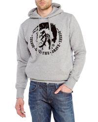 DIESEL - Gray Scentyn Hooded Sweatshirt for Men - Lyst