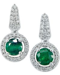 Macy's | Green Emerald (1/5 Ct. T.w.) And Diamond (1/5 Ct. T.w.) Earring And Pendant Set In Sterling Silver | Lyst