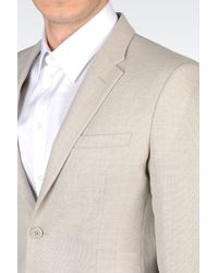 Emporio Armani - Natural Jacket In Woven-Effect Crepe Wool for Men - Lyst