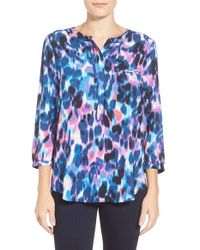 NYDJ | Blue Hepburn Shadow Floral Print 3/4 Sleeve Blouse In Petite | Lyst