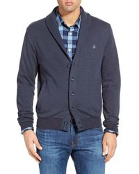 Original Penguin - Blue Nep Shawl Cardigan Sweatshirt for Men - Lyst