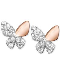 Swarovski | Pink Two-tone Crystal Butterfly Stud Earrings | Lyst