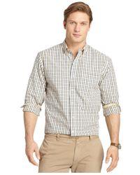 Izod | Natural Medium Plaid Button-down Long-sleeve Shirt for Men | Lyst