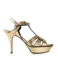 Saint Laurent - Metallic 'Tribute' Sandals - Lyst