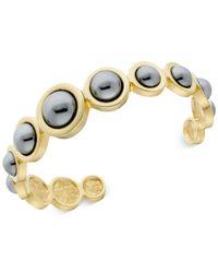 T Tahari | Metallic Gold-tone Gray Faux-pearl Cuff Bracelet | Lyst