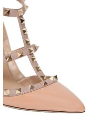 Valentino - Natural 100mm Rockstud Patent Leather Pumps - Lyst