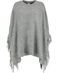 Iris & Ink - Gray Esme Fringed Knitted Poncho - Lyst