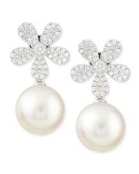 Belpearl - Fleur White Diamond & Pearl Earrings - Lyst