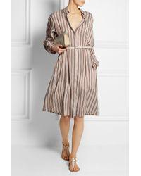 Rochas - Natural Oversized Striped Brushedsilk Shirt Dress - Lyst