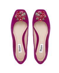 Dune | Purple Humphries Jewelled Square Toe Flat Shoes | Lyst