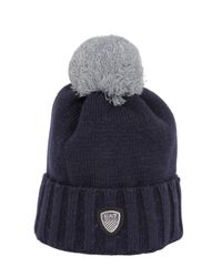 Emporio Armani | Blue Knit Beanie Hat With Pompom for Men | Lyst