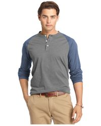 Izod | Gray Colorblocked Long-sleeve Henley for Men | Lyst