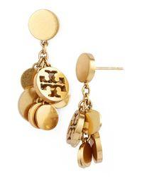 Tory Burch | Metallic Logo Charm Drop Earrings - Worn Gold | Lyst