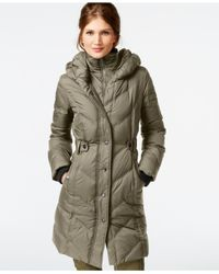 DKNY | Green Faux-leather-trim Quilted Down Coat | Lyst