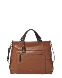 Fossil | Brown 'Vickery' Leather Crossbody Bag | Lyst